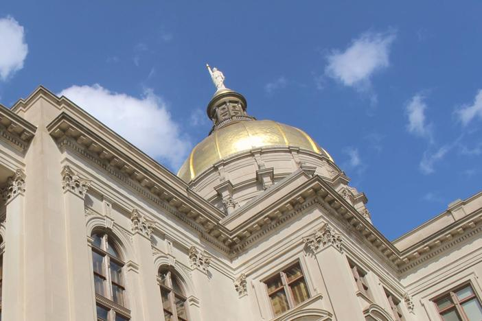 The golden dome of the Georgia state capitol.